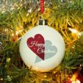 Happy Christmas Hearts Bone China Bauble